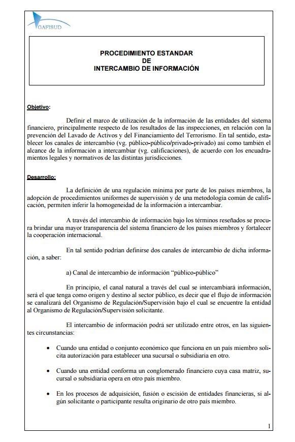 003 Procedimiento Estandar para Intercambio de Informacion