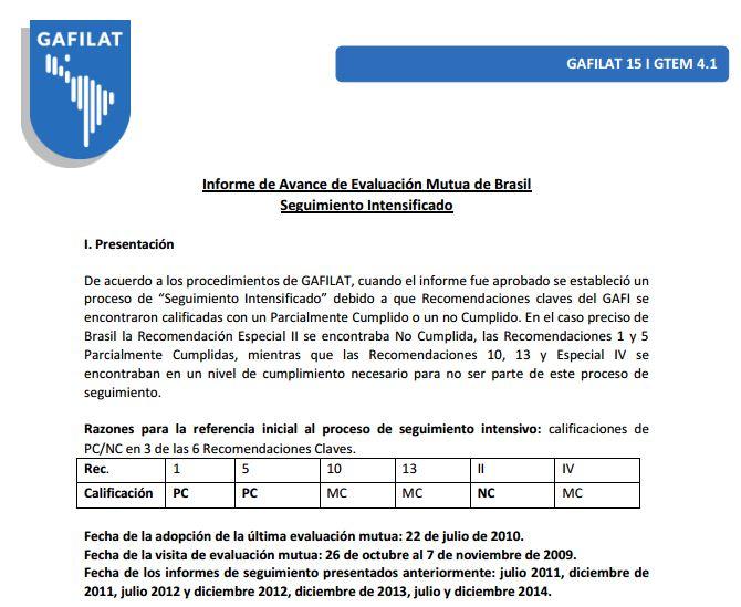 Informe de Seguimiento de Brasil (julio 2015)
