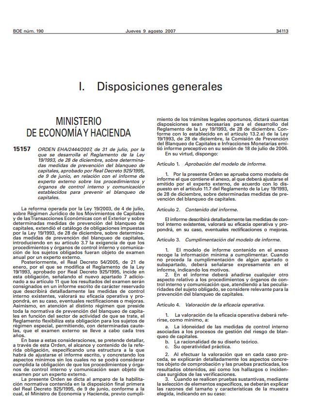 004 OM 2444 2007 Declaracion del Ministerio de Economia y Hacienda sobre Expertos Externos