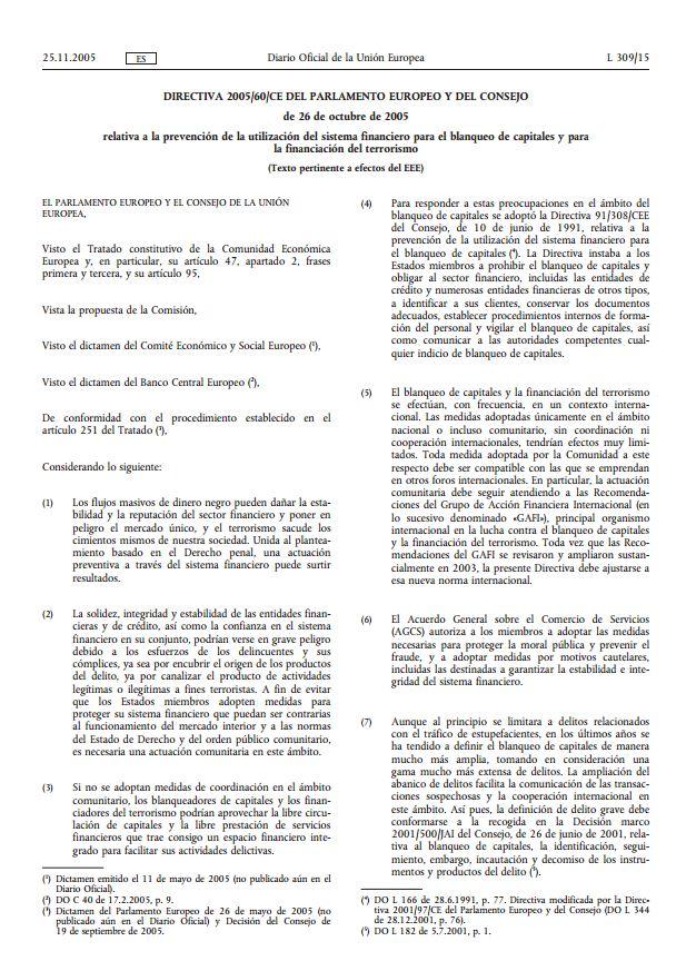 3er Directiva de la UE contra el Blanqueo de Fonods es
