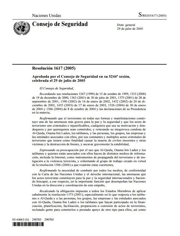 UN Sec Res 1617 2005 es