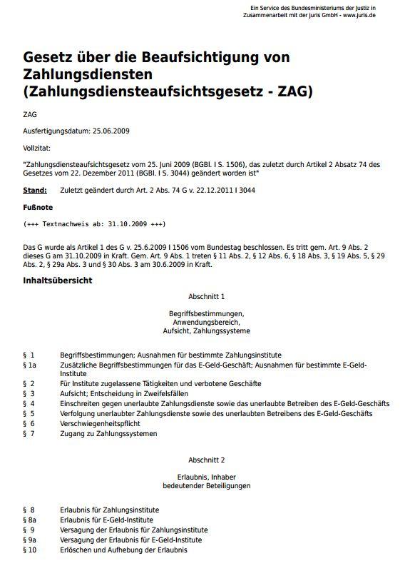 007 ZAG Gesetz zur Beaufsichtigung von Zahlungsdiensten