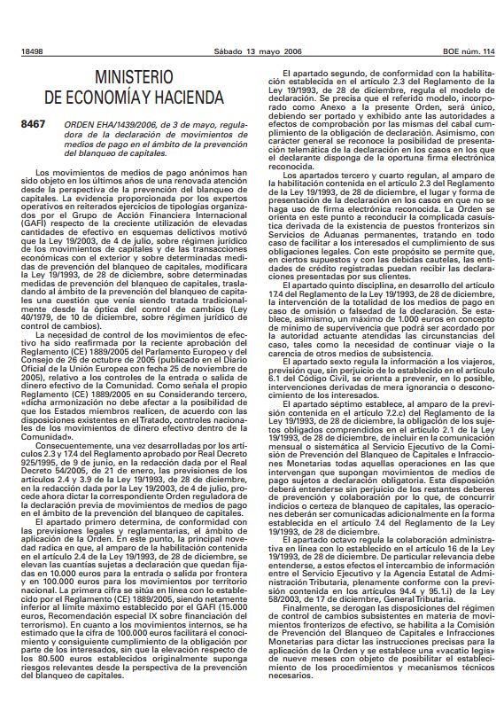 003 OM 1439 2006 Declaracion del Ministerio de Economia y hacienda sobre el Movimiento de Medios de Pago