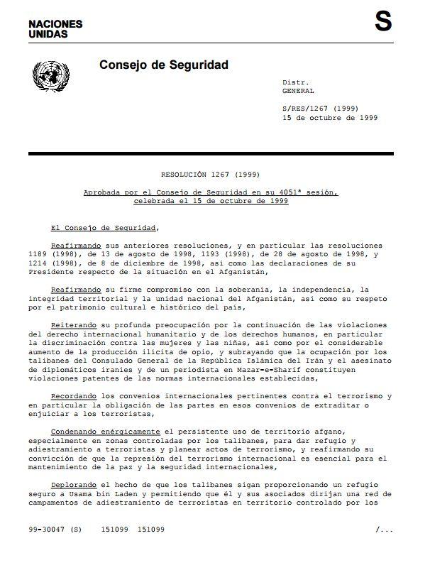 UN SEc Res 1267 1999 es