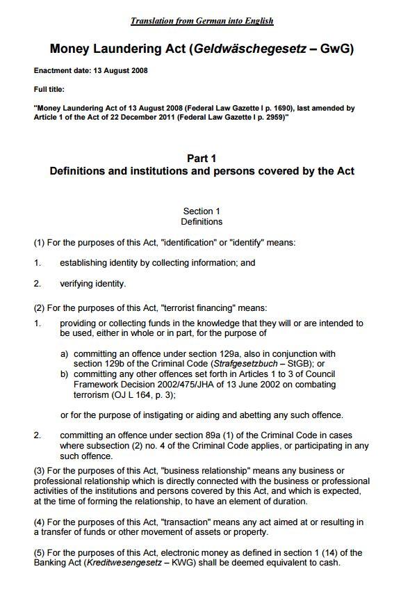 002 GwG Money Laundering Act (Ley de Lavado)