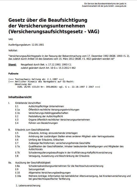 006 VAG Versicherungsaufsichtsgesetz