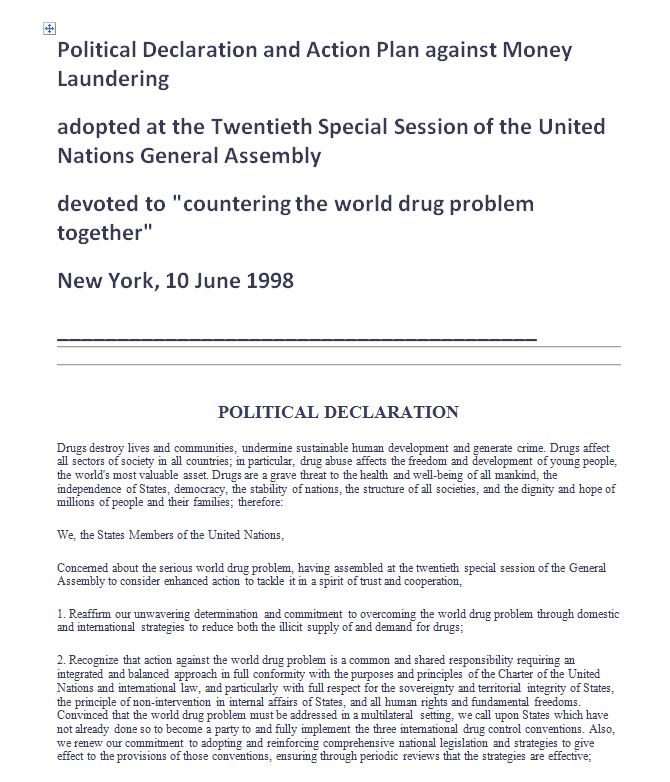 UN Political Declaration and Action Plan against Money Laundering 1998 en